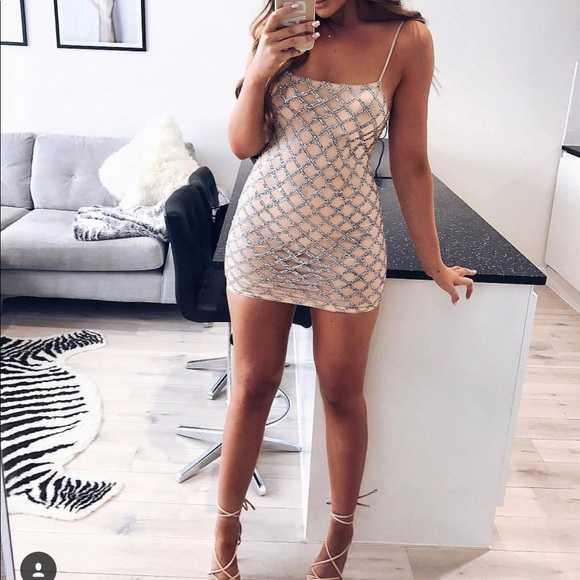 57306a93 Missguided Dresses | Oh Polly Embellished Mini Dress Nude | Poshmark
